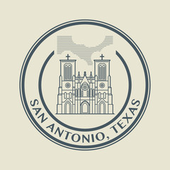 Stamp with name of Texas, San Antonio, vector