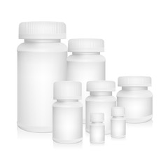 White plastic medical container on white background