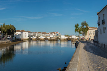 panoramic view (late afternoon) of the city Tavira in Algarve, P