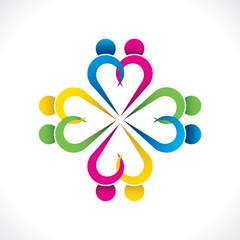 cerative heart shape couple icon design vector