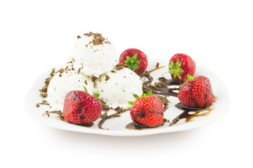 Ice cream with chocolate and strawberry