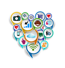 Social network symbols in speech bubble
