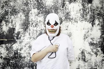 Clown listening heartbeat