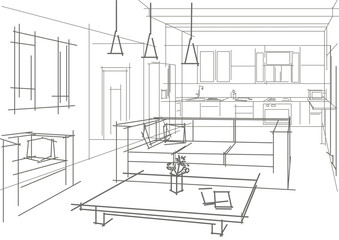 linear sketch of an interior in a flat