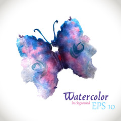 Designed watercolor butterfly. Vector isolated illustration