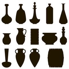 dark silhouette of a jug set