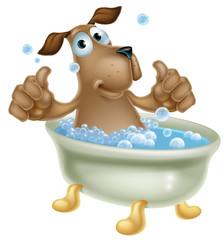 Cartoon dog in bubble bath