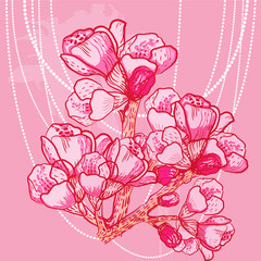 vector delicate spring flower on background