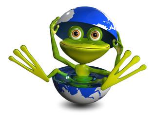frog in the globe