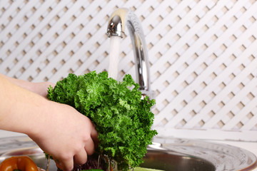 Washing vegetables, close-up