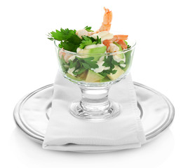 Tasty salad with shrimps and avocado, isolated on white