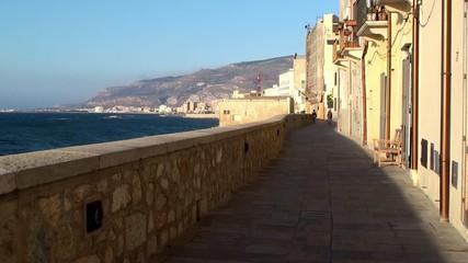 """Old stone promenade """"Bastione Conca"""" of Trapani city"""