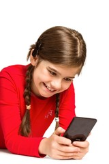 Cute little girl using smartphone