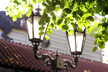 Street lamp and sun beams