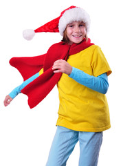 child with Santa Claus red hat isolated