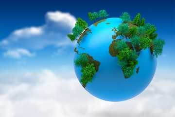 Composite image of earth with forest