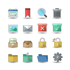 Flat color style Business & Office icons set