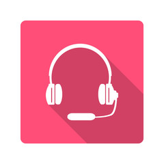 Flat design. Headphones with microphone icon