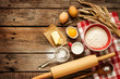 Dough recipe ingredients on vintage rural wood kitchen table - 70558916