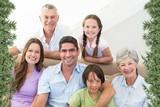 Composite image of smiling multigeneration family