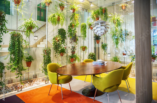 flowers decoration in modern hall - 70559149