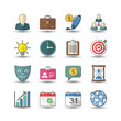 Flat color style Business management icons set