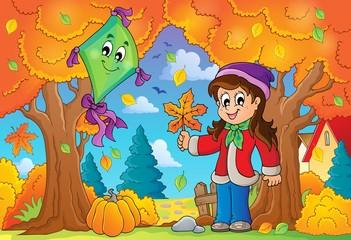 Autumn theme with girl and kite