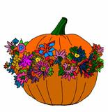 zucca di halloween con fiori su sfondo bianco