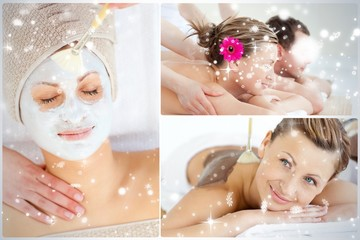 Collage of an attractive couple having relaxation treatments