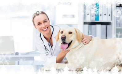 Composite image of female veterinarian examining dog
