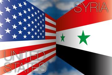 usa vs syria flags