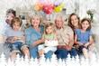 Multigeneration family celebrating girls birthday