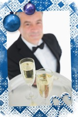 Composite image of close up of tray with glasses of champagne