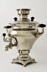 samovar, traditional russian kettle, on neutral