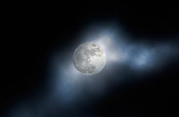 Foggy full moon night