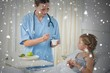 Composite image of doctor feeding meal to sick girl
