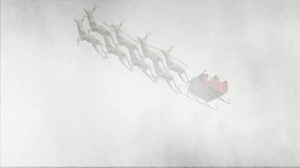 santa claus with animated reindeers  in snowstorm