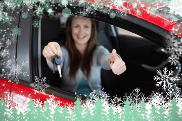 Composite image of woman holding car keys