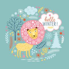Christmas greeting card,  fairy lion