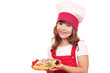 little girl cook with spaghetti