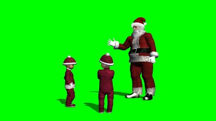 santa claus talking with christmas children - green screen
