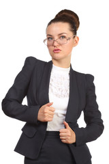Stylish business woman in glasses and black suit