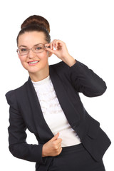 Smiling business woman in glasses and black suit