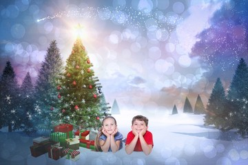 Composite image of cute children smiling at camera