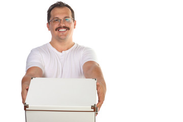 Smiling man with mustache in glasses stretches forward box