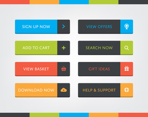 Flat Design Call-To-Action Buttons