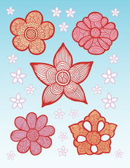 Decorative flower with line pattern geometric style