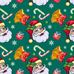 Holiday seamless pattern with Santa Claus