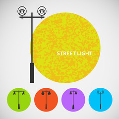 Set vintage street lights on colored backgrounds