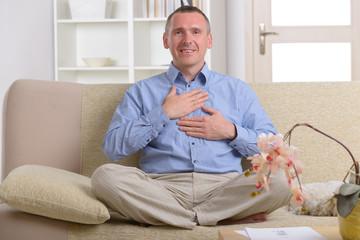 Man practicing energy medicine